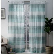 Exclusive Home Bern Stripe Sheer Rod Pocket Panel Pair, Ash Grey, 54x96