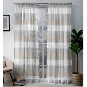 Exclusive Home Bern Stripe Sheer Rod Pocket Panel Pair, Dove Grey, 50x108