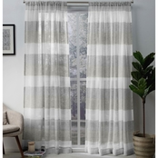 Exclusive Home Bern Stripe Sheer Rod Pocket Panel Pair, Dove Grey, 50x84