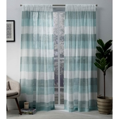 Exclusive Home Bern Stripe Sheer Rod Pocket Panel Pair, Teal, 54x84