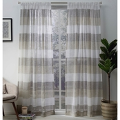 Exclusive Home 50 x 96 in. Bern Stripe Sheer Rod Pocket Curtain Panel 2 pk.