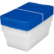 Sterilite Set of (5) 6 Quart Storage Boxes, Blue