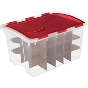 Sterilite Hinged Lid Ornament Box, 48 qt.