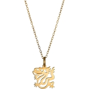 18K Yellow Gold Over Silver Chinese Zodiac Dragon Pendant 16 in.