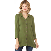 Passports Button Front Knit Tunic