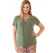 Passports Lace Up Grommet V Neck Top