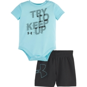 Under Armour Infant Boys Try To Keep Up Bodysuit and Shorts 2 pc. Set