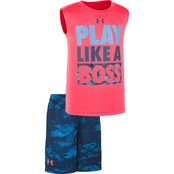 Under Armour Toddler Boys Play Like A Boss Shirt and Shorts 2 pc. Set