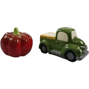 Gibson Home Harvest Moon Truck and Pumpkin Salt and Pepper Shaker Set