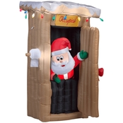 Gemmy Animated Airblown Santa Coming Out of the Outhouse with Lights