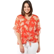 AGB Plus Size Printed Yoryu Top with Ruffle Sleeves