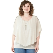 AGB Plus Size Round Hem Popover Blouse