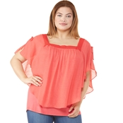 AGB Plus Size Gauze Popover Top