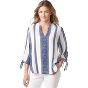 Michael Kors Border Stripe Tie Top
