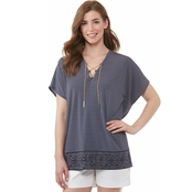 Michael Kors Geo Lace Up Tunic Top