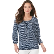 Michael Kors Diamond Ikat Peasant Top