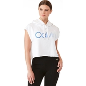Calvin Klein Performance Ombre Logo Cap Sleeve Boxy Cropped Hoodie