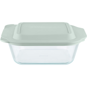 Pyrex Deep Glass Baker with Sage Lid, 8 x 8 in.