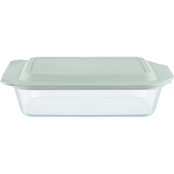 Pyrex Deep 7 x 11 in. Glass Baker with Sage Lid