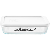 Pyrex 3 Cup Rectangle Glass Storage Container Celebrations Cheers