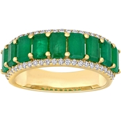 Emerald and 1/3 CT TW Diamond Semi-Eternity Band in 14k Yellow Gold