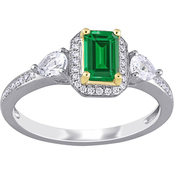 Emerald, White Sapphire and 1/8 CT TW Diamond 3-Stone Ring in 14k 2-Tone Gold