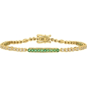 Sofia B. 14K Yellow Gold Emerald and 3/4 CTW Diamond Bar Bracelet