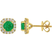 Emerald and 1/4 CT TW Diamond Square Halo Stud Earrings in 14k Yellow Gold
