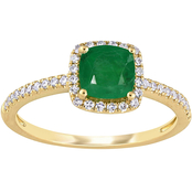 Sofia B. 14K Yellow Gold Cushion Cut Emerald and 1/5 CTW Diamond Halo Ring