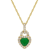Sofia B. 14K Yellow Gold Emerald and 1/4 CTW Diamond Halo Heart 17 in. Necklace