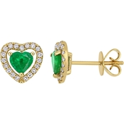 Sofia B. 14K Yellow Gold Emerald and 1/5 CTW Diamond Heart Stud Earrings