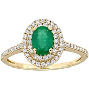 Oval-cut Emerald and 1/3 CT TW Diamond Double Halo Ring in 14k Yellow Gold