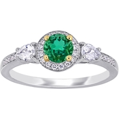 Sofia B. 14K Gold Emerald, White Sapphire and 1/8 CTW Diamond 3 Stone Ring
