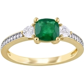 Emerald, White Sapphire and 1/10 CT TW Diamond 3-Stone Ring in 14k Yellow Gold