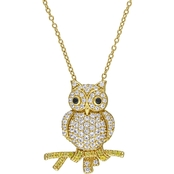 Sofia B. Yellow Silver Created White Yellow Sapphire and Black Spinel Owl Necklace