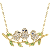 Created Blue White Sapphire and Tsavorite Bird Necklace in Sterling Silver
