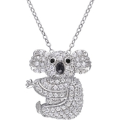 Sofia B. Sterling Silver Lab Created White Sapphire and Black Spinel Koala Necklace