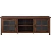 Walker Edison 70 in. Wood Farmhouse TV Stand with Glass Doors