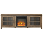 Walker Edison 70 in. Wood Farmhouse Fireplace TV Stand with Glass Doors