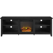 70 Open Storage Wood Fireplace TV Stand - White Oak