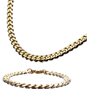 INOX Men's Stainless Steel Yellow Goldtone Curb Chain and Bracelet Set