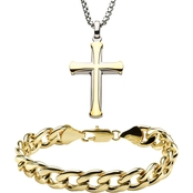 INOX Men's Stainless Steel Yellow Goldtone Cross Pendant and Curb Bracelet Set
