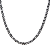 INOX Men's Stainless Steel Black IP Curb Chain 22 in.