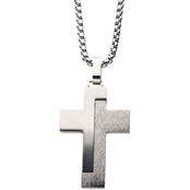 INOX Stainless Steel Textured Block Cross Pendant 24 in.