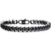 INOX Men's Stainless Steel 8.5 in. IP Black Curb Bracelet