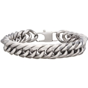 INOX Stainless Steel 8.5 in. Matte 12MM Curb Bracelet