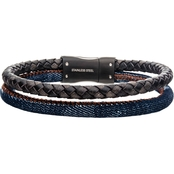 INOX 8.5 in. Brown and Blue Double Leather Bracelet