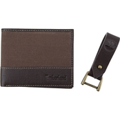 Timberland Canvas and Leather Wallet and Key Fob 2 pc. Gift Set