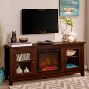 Walker Edison Traditional Fireplace 58 in. TV Stand with Glass Doors