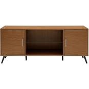 Walker Edison 60 in. Mid Century Modern TV Stand with Glass Shelf